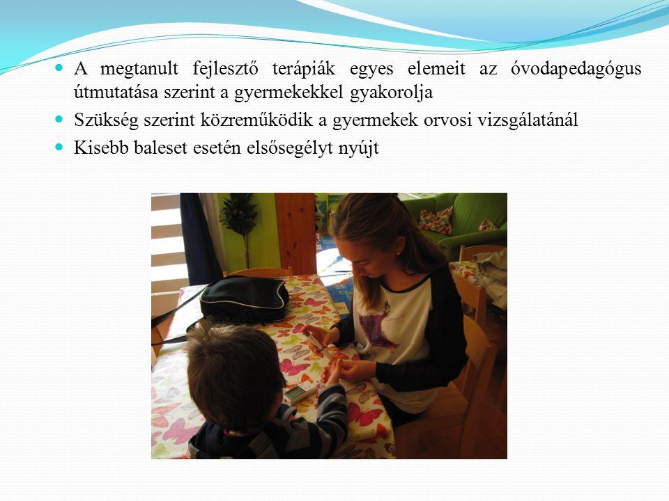 A megtanult fejlesztő terápiák egyes elemeit az óvodapedagógus útmutatása szerint a gyermekekkel gyakorolja Szükség szerint közreműködik a gyermekek orvosi vizsgálatánál Kisebb baleset esetén elsősegélyt nyújt
