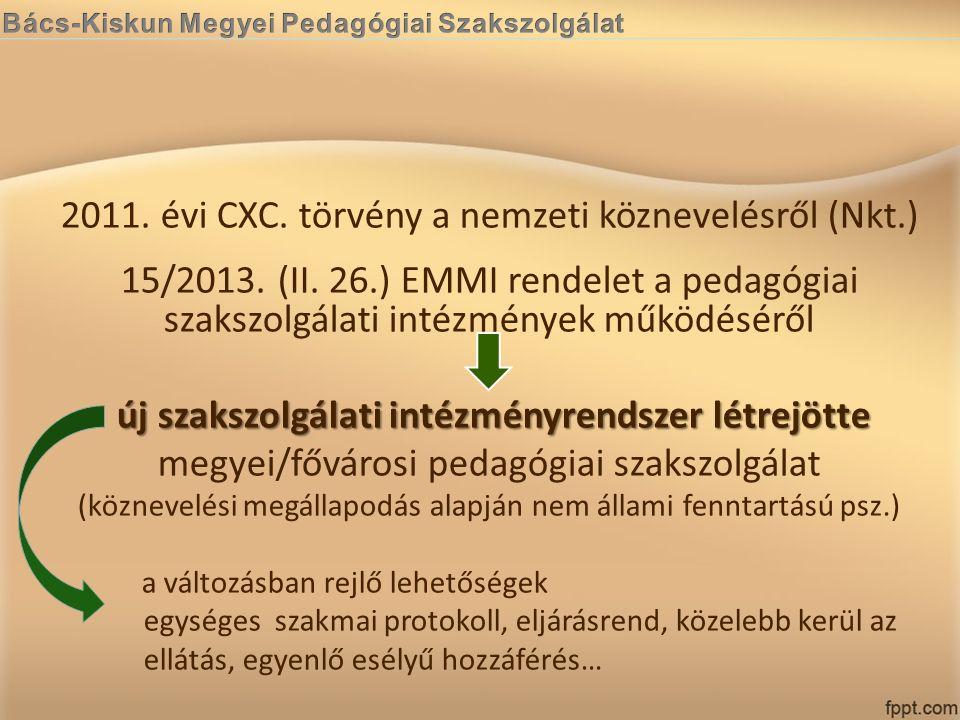 2011. évi CXC. törvény a nemzeti köznevelésről (Nkt.) 15/2013. (II. 26.) EMMI rendelet a pedagógiai szakszolgálati intézmények működéséről új szakszol