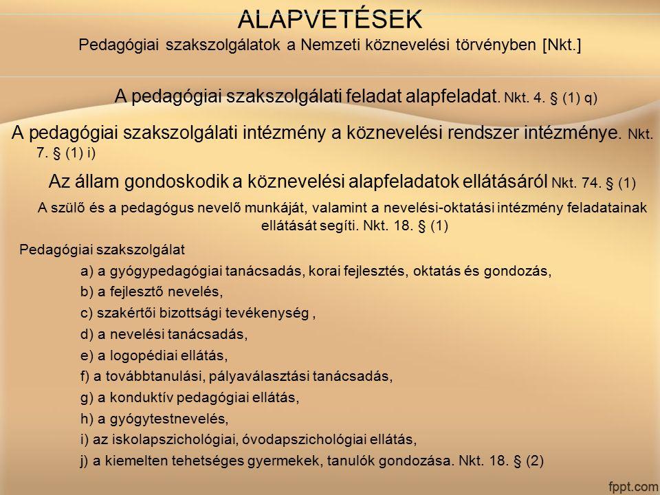 ALAPVETÉSEK Pedagógiai szakszolgálatok a Nemzeti köznevelési törvényben [Nkt.] A pedagógiai szakszolgálati feladat alapfeladat. Nkt. 4. § (1) q) A ped