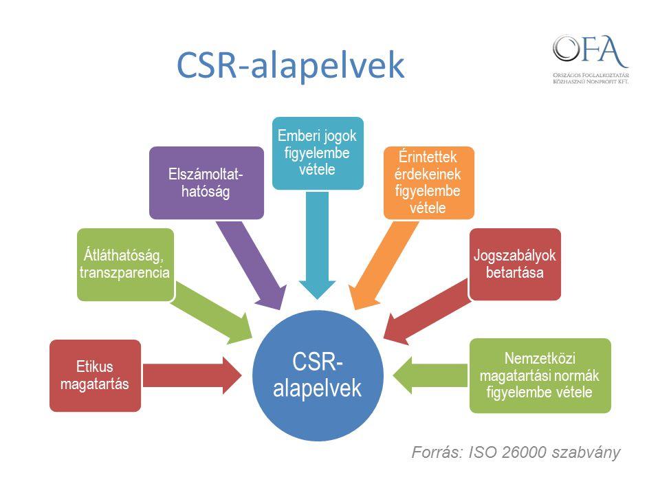 CSR-alapelvek Etikus magatartás Átláthatóság, transzparencia Elszámoltat- hatóság Emberi jogok figyelembe vétele Érintettek érdekeinek figyelembe vétele Jogszabályok betartása Nemzetközi magatartási normák figyelembe vétele Forrás: ISO 26000 szabvány