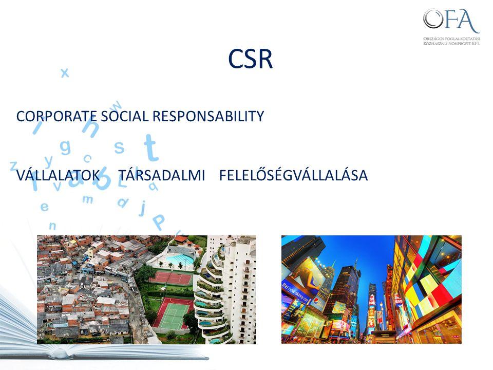CORPORATE SOCIAL RESPONSABILITY VÁLLALATOK TÁRSADALMI FELELŐSÉGVÁLLALÁSA CSR