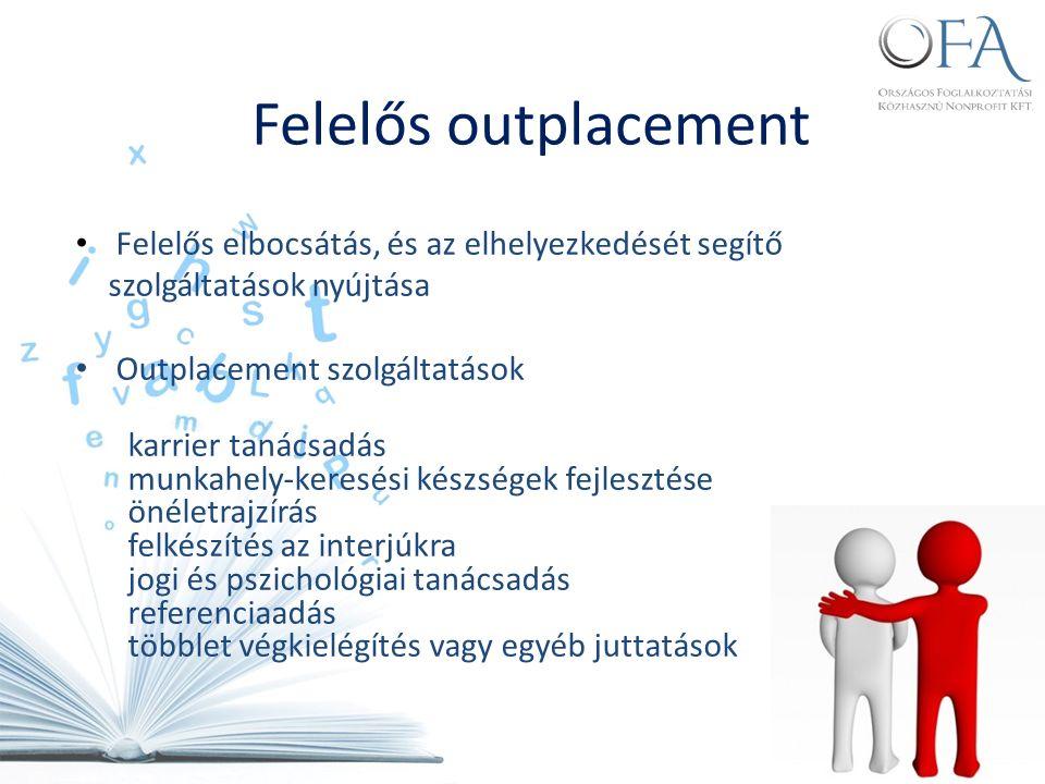 Felelős elbocsátás, és az elhelyezkedését segítő szolgáltatások nyújtása Outplacement szolgáltatások karrier tanácsadás munkahely-keresési készségek fejlesztése önéletrajzírás felkészítés az interjúkra jogi és pszichológiai tanácsadás referenciaadás többlet végkielégítés vagy egyéb juttatások Felelős outplacement