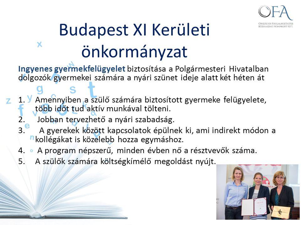 Budapest XI Kerületi önkormányzat Ingyenes gyermekfelügyelet biztosítása a Polgármesteri Hivatalban dolgozók gyermekei számára a nyári szünet ideje alatt két héten át 1.Amennyiben a szülő számára biztosított gyermeke felügyelete, több időt tud aktív munkával tölteni.
