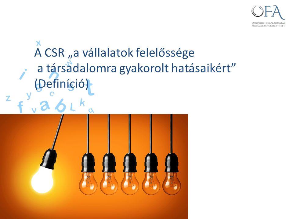 """A CSR """"a vállalatok felelőssége a társadalomra gyakorolt hatásaikért (Definíció)"""