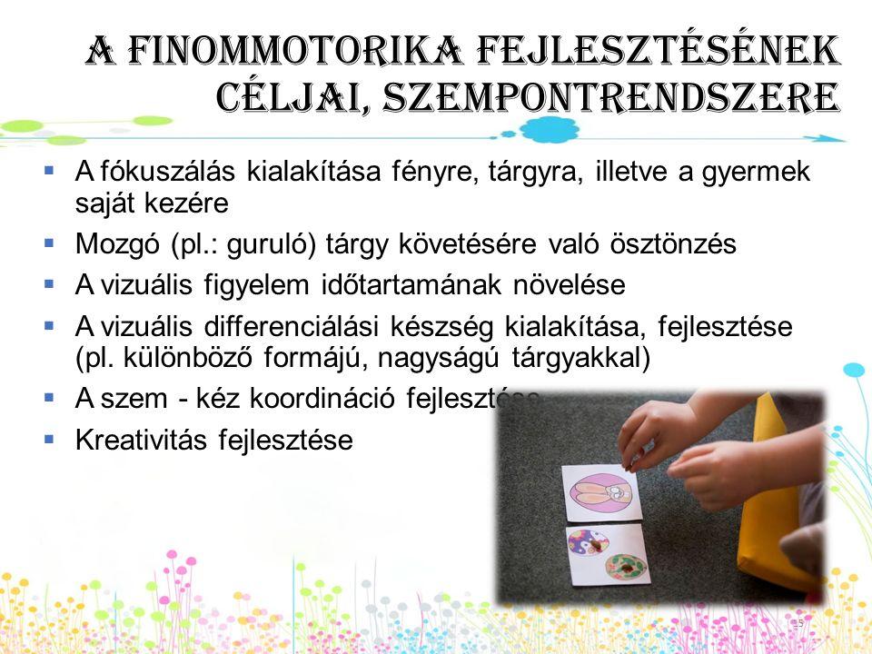 A finommotorika fejlesztésének céljai, szempontrendszere  A fókuszálás kialakítása fényre, tárgyra, illetve a gyermek saját kezére  Mozgó (pl.: guru