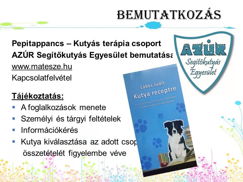 Bemutatkozás Pepitappancs – Kutyás terápia csoport AZÚR Segítőkutyás Egyesület bemutatása www.matesze.hu Kapcsolatfelvétel Tájékoztatás:  A foglalkoz