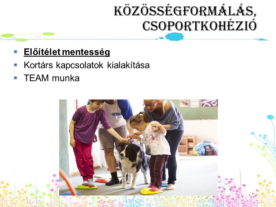 Közösségformálás, csoportkohézió  Előítélet mentesség  Kortárs kapcsolatok kialakítása  TEAM munka 5