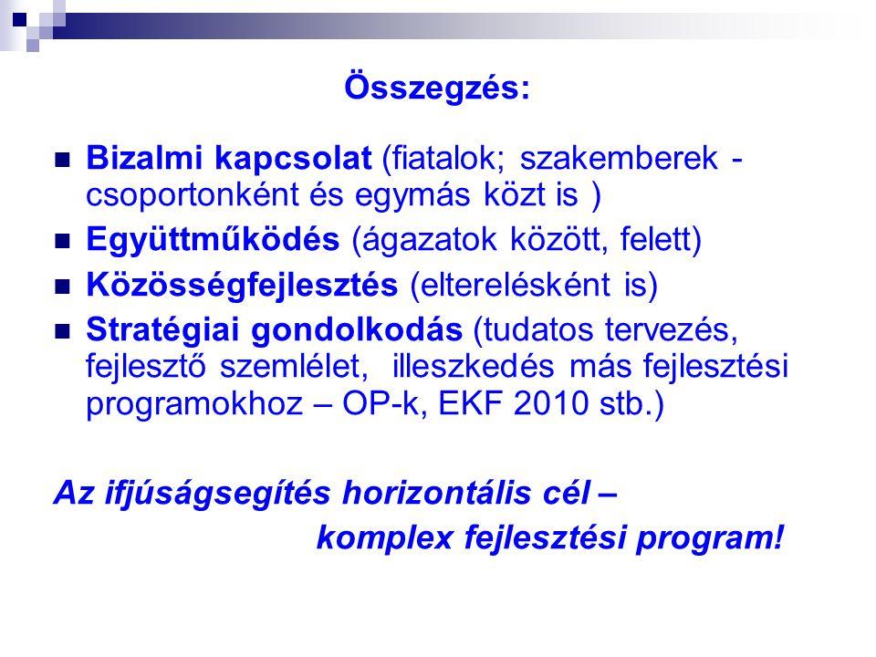 Összegzés: Bizalmi kapcsolat (fiatalok; szakemberek - csoportonként és egymás közt is ) Együttműködés (ágazatok között, felett) Közösségfejlesztés (elterelésként is) Stratégiai gondolkodás (tudatos tervezés, fejlesztő szemlélet, illeszkedés más fejlesztési programokhoz – OP-k, EKF 2010 stb.) Az ifjúságsegítés horizontális cél – komplex fejlesztési program!