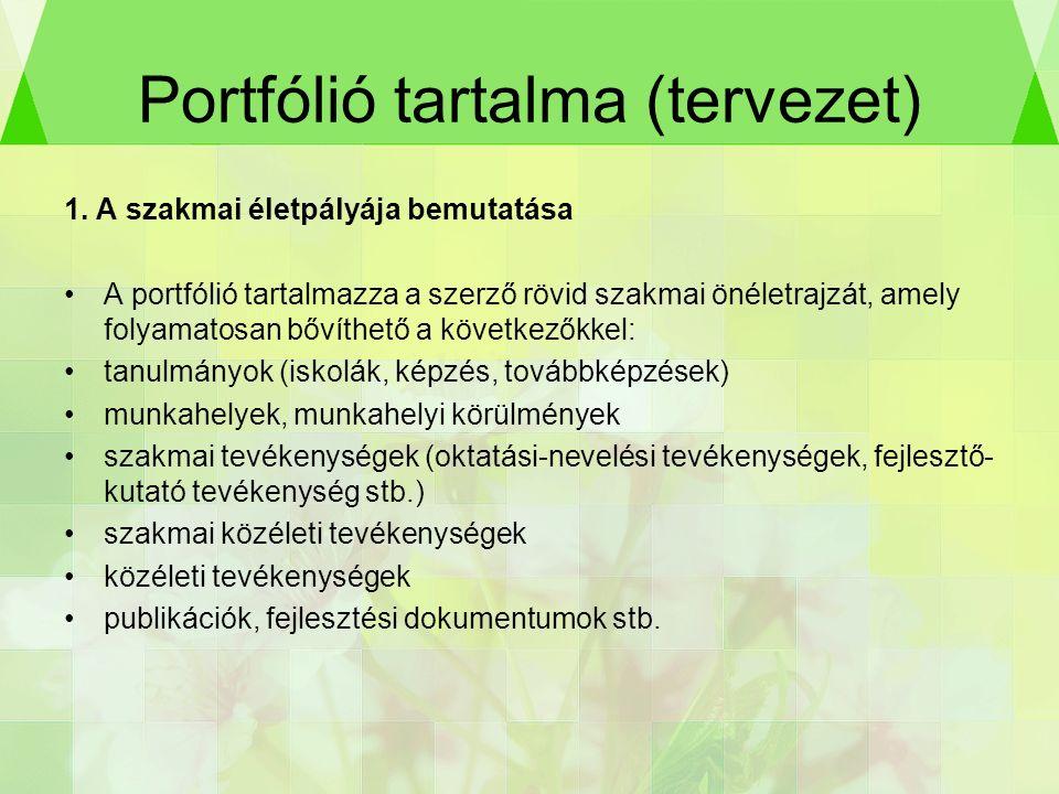 Portfólió tartalma (tervezet) 1.