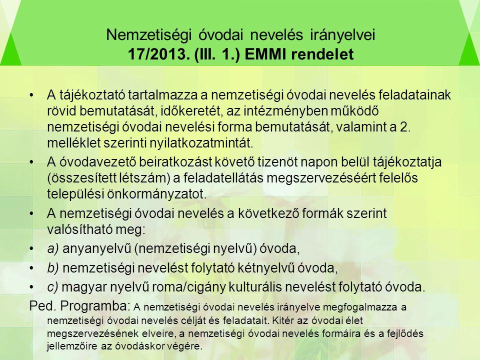 Nemzetiségi óvodai nevelés irányelvei 17/2013. (III.