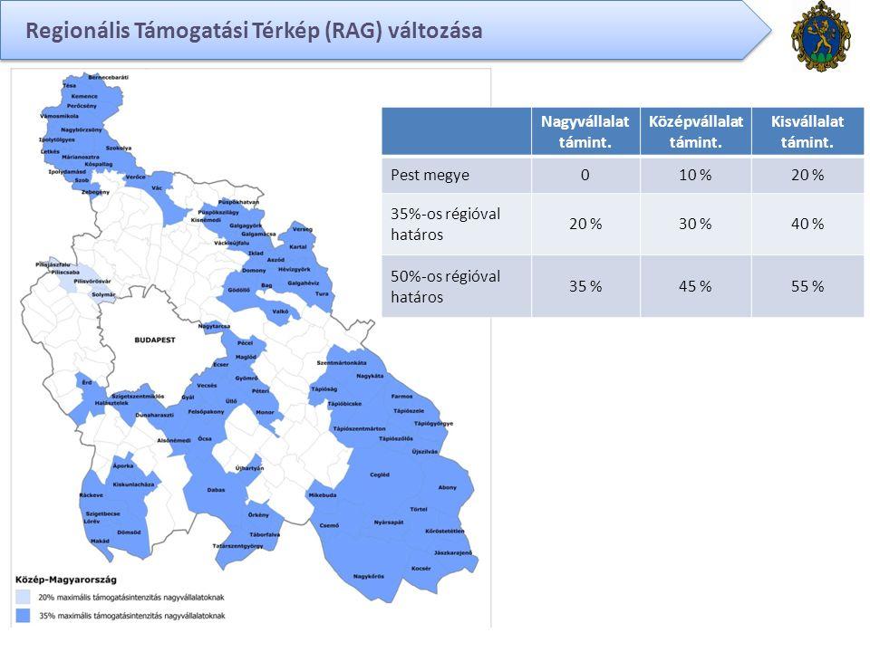 Regionális Támogatási Térkép (RAG) változása Nagyvállalat támint.