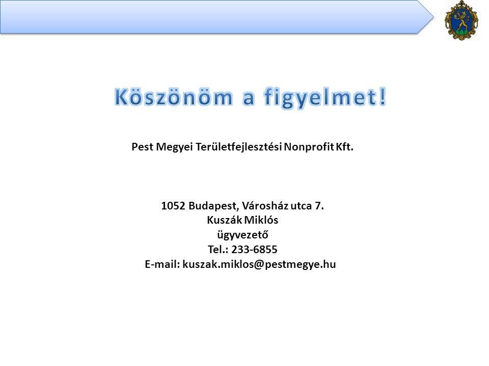 Pest Megyei Területfejlesztési Nonprofit Kft. 1052 Budapest, Városház utca 7.