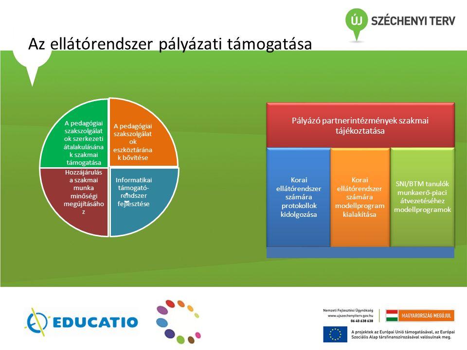 Az ellátórendszer pályázati támogatása A pedagógiai szakszolgálat ok szerkezeti átalakulásána k szakmai támogatása A pedagógiai szakszolgálat ok eszköztárána k bővítése Informatikai támogató- rendszer fejlesztése Hozzájárulás a szakmai munka minőségi megújításáho z Pályázó partnerintézmények szakmai tájékoztatása Korai ellátórendszer számára protokollok kidolgozása Korai ellátórendszer számára modellprogram kialakítása SNI/BTM tanulók munkaerő-piaci átvezetéséhez modellprogramok