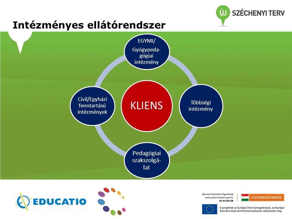 A pedagógiai szakszolgálatok munkáját segítő tevékenységek Az intéznyrendszer strukturális átalakulásnak szakmai támogatása A pedagógiai szakszolgálatok eszköztárának bővítése Informatikai támogató- rendszer fejlesztése Hozzájárulás a szakmai munka minőségi megújításához Továbbképzések 350 fő szakember számára (módszer-specifikus, ágazatközi) Protokollok az ellátás minőségének javításra, 1000 fő felkészítése a protokollok használatára Protokollok az ellátás minőségének javításra, 1000 fő felkészítése a protokollok használatára Hálózati munka elősegítése Jó gyakorlatok gyűjtése, elterjesztése (workshopok, kiadványok ) Jó gyakorlatok gyűjtése, elterjesztése (workshopok, kiadványok )