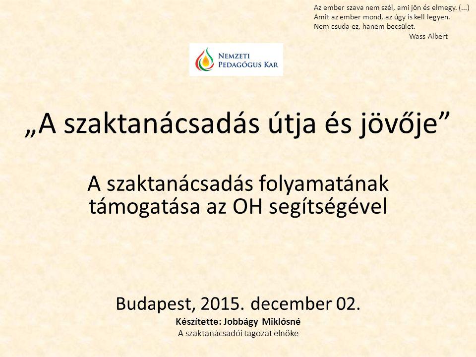 """""""A szaktanácsadás útja és jövője A szaktanácsadás folyamatának támogatása az OH segítségével Budapest, 2015."""