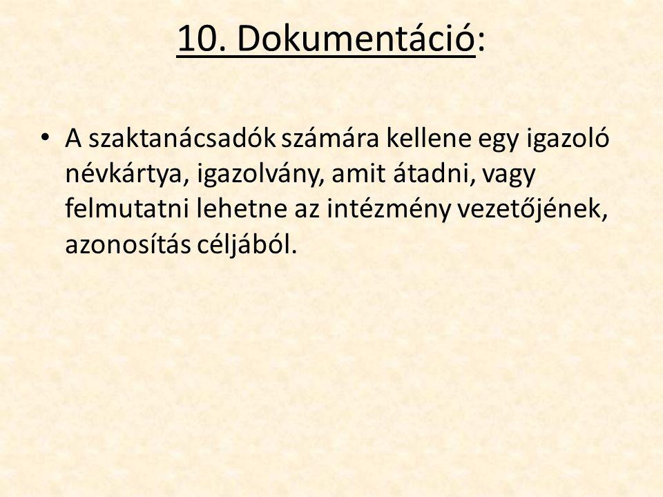 10. Dokumentáció: A szaktanácsadók számára kellene egy igazoló névkártya, igazolvány, amit átadni, vagy felmutatni lehetne az intézmény vezetőjének, a