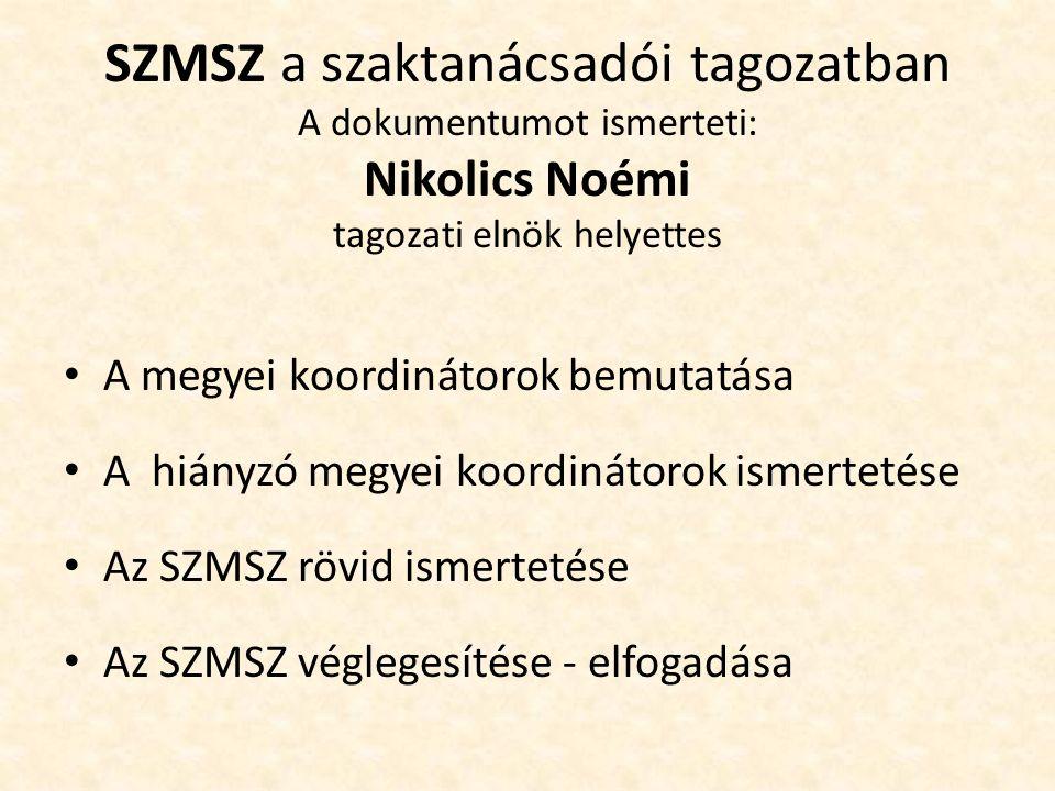 SZMSZ a szaktanácsadói tagozatban A dokumentumot ismerteti: Nikolics Noémi tagozati elnök helyettes A megyei koordinátorok bemutatása A hiányzó megyei koordinátorok ismertetése Az SZMSZ rövid ismertetése Az SZMSZ véglegesítése - elfogadása