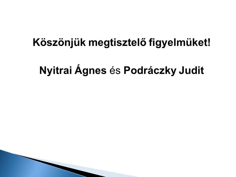 Köszönjük megtisztelő figyelmüket! Nyitrai Ágnes és Podráczky Judit