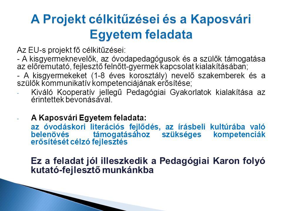 Az EU-s projekt fő célkitűzései: - A kisgyermeknevelők, az óvodapedagógusok és a szülők támogatása az előremutató, fejlesztő felnőtt-gyermek kapcsolat kialakításában; - A kisgyermekeket (1-8 éves korosztály) nevelő szakemberek és a szülők kommunikatív kompetenciájának erősítése; - Kiváló Kooperatív jellegű Pedagógiai Gyakorlatok kialakítása az érintettek bevonásával.
