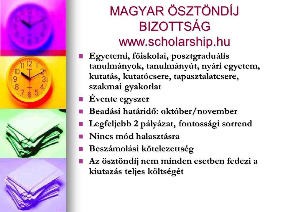 MAGYAR ÖSZTÖNDÍJ BIZOTTSÁG www.scholarship.hu Egyetemi, főiskolai, posztgraduális tanulmányok, tanulmányút, nyári egyetem, kutatás, kutatócsere, tapasztalatcsere, szakmai gyakorlat Egyetemi, főiskolai, posztgraduális tanulmányok, tanulmányút, nyári egyetem, kutatás, kutatócsere, tapasztalatcsere, szakmai gyakorlat Évente egyszer Évente egyszer Beadási határidő: október/november Beadási határidő: október/november Legfeljebb 2 pályázat, fontossági sorrend Legfeljebb 2 pályázat, fontossági sorrend Nincs mód halasztásra Nincs mód halasztásra Beszámolási kötelezettség Beszámolási kötelezettség Az ösztöndíj nem minden esetben fedezi a kiutazás teljes költségét Az ösztöndíj nem minden esetben fedezi a kiutazás teljes költségét