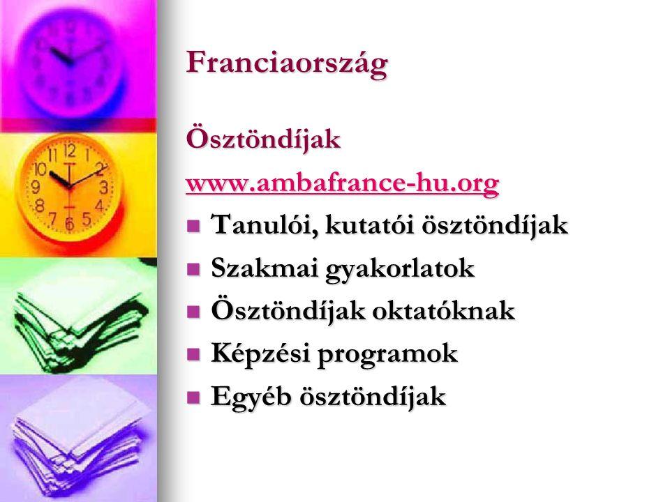 Franciaország Ösztöndíjak www.ambafrance-hu.org Tanulói, kutatói ösztöndíjak Tanulói, kutatói ösztöndíjak Szakmai gyakorlatok Szakmai gyakorlatok Ösztöndíjak oktatóknak Ösztöndíjak oktatóknak Képzési programok Képzési programok Egyéb ösztöndíjak Egyéb ösztöndíjak