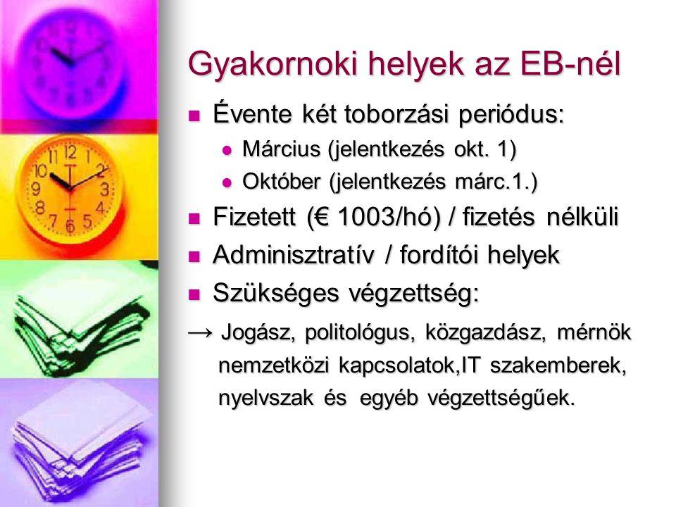 Gyakornoki helyek az EB-nél Évente két toborzási periódus: Évente két toborzási periódus: Március (jelentkezés okt.