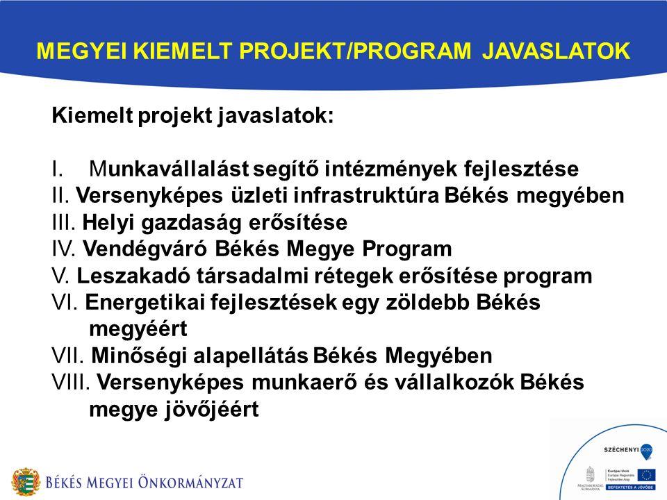 MEGYEI KIEMELT PROJEKT/PROGRAM JAVASLATOK Kiemelt projekt javaslatok: I.Munkavállalást segítő intézmények fejlesztése II.