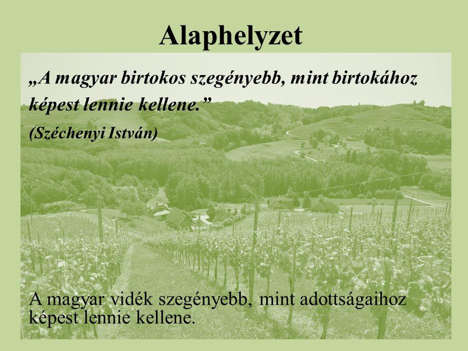 """Alaphelyzet """"A magyar birtokos szegényebb, mint birtokához képest lennie kellene. (Széchenyi István) A magyar vidék szegényebb, mint adottságaihoz képest lennie kellene."""