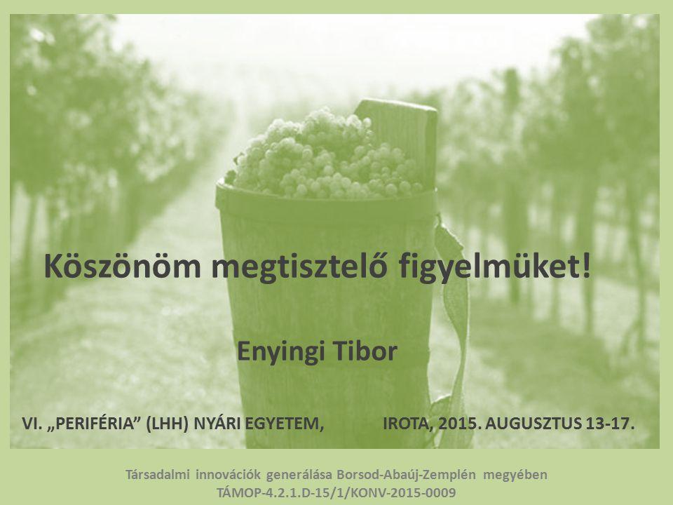 Köszönöm megtisztelő figyelmüket. Enyingi Tibor VI.