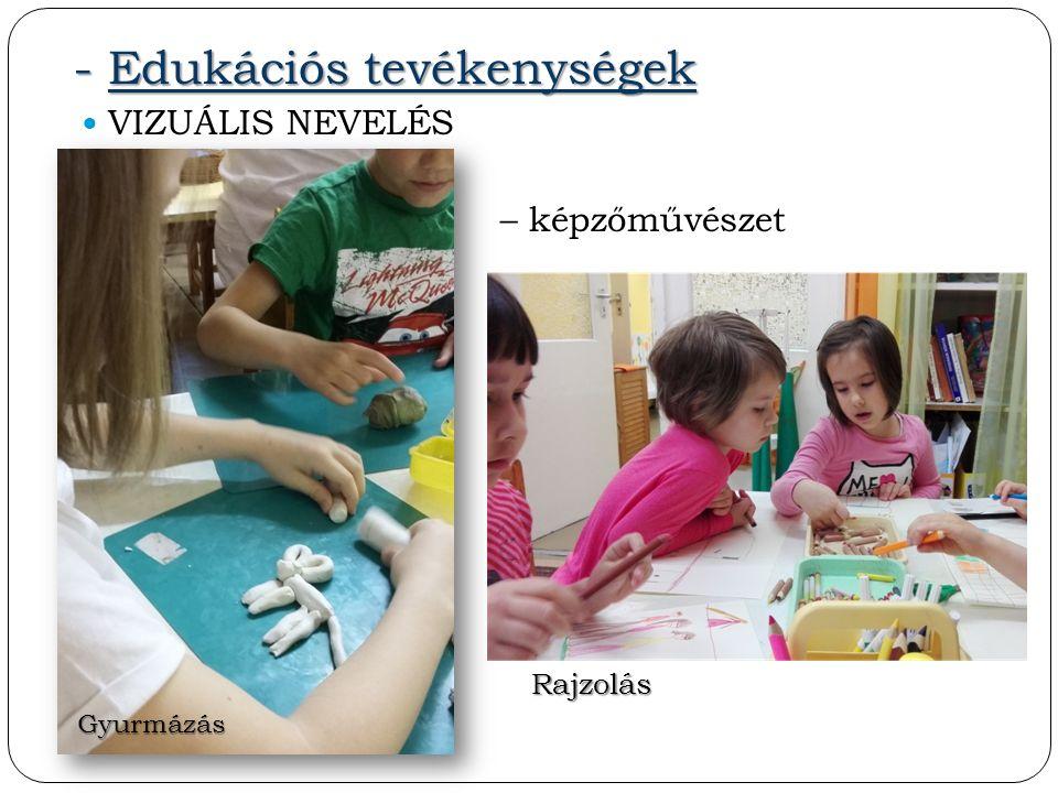 - Edukációs tevékenységek VIZUÁLIS NEVELÉS – képzőművészet Gyurmázás Rajzolás