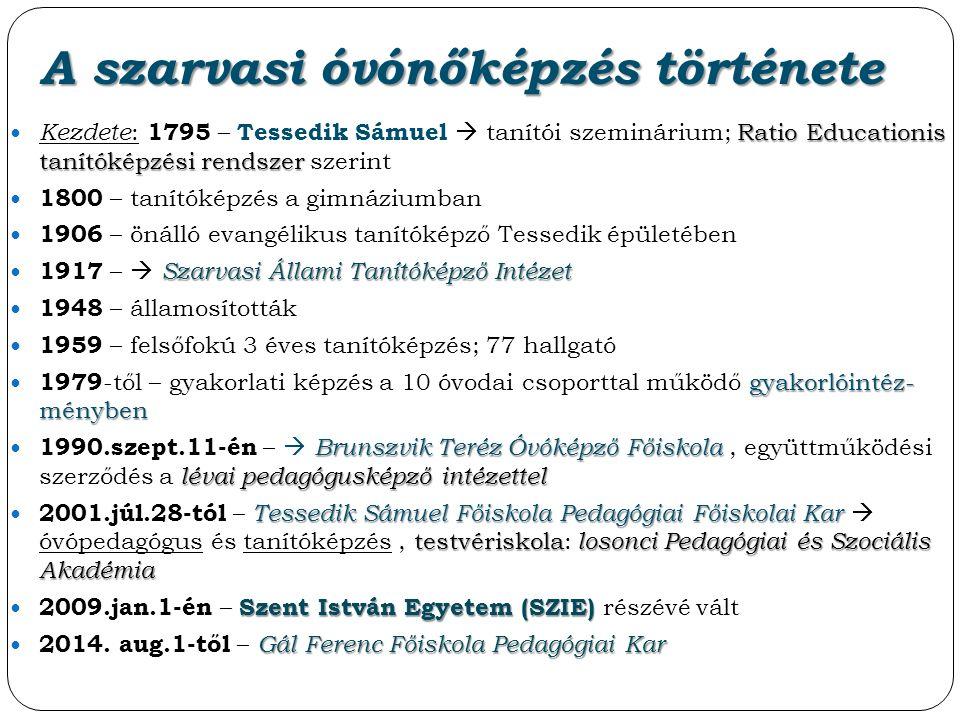 A szarvasi óvónőképzés története Ratio Educationis tanítóképzési rendszer Kezdete : 1795 – Tessedik Sámuel  tanítói szeminárium; Ratio Educationis ta