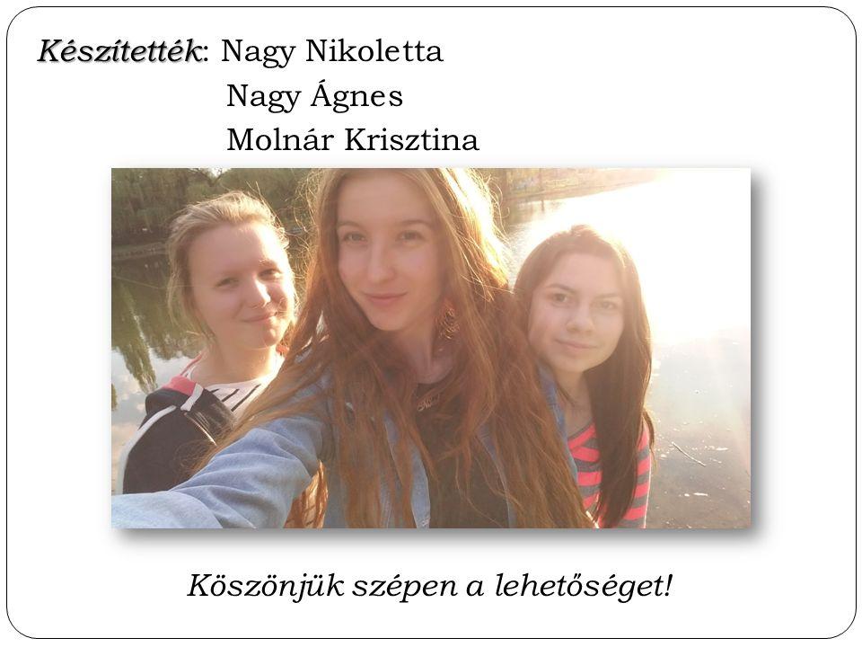 Készítették Készítették : Nagy Nikoletta Nagy Ágnes Molnár Krisztina Köszönjük szépen a lehetőséget!