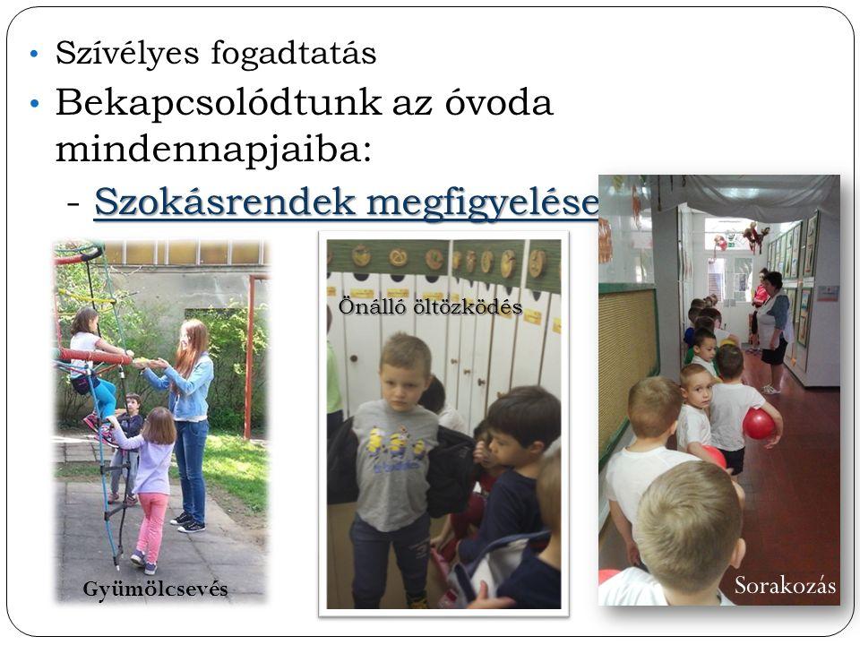 Szívélyes fogadtatás Bekapcsolódtunk az óvoda mindennapjaiba: Szokásrendek megfigyelése - Szokásrendek megfigyelése Sorakozás Gyümölcsevés Önálló öltö