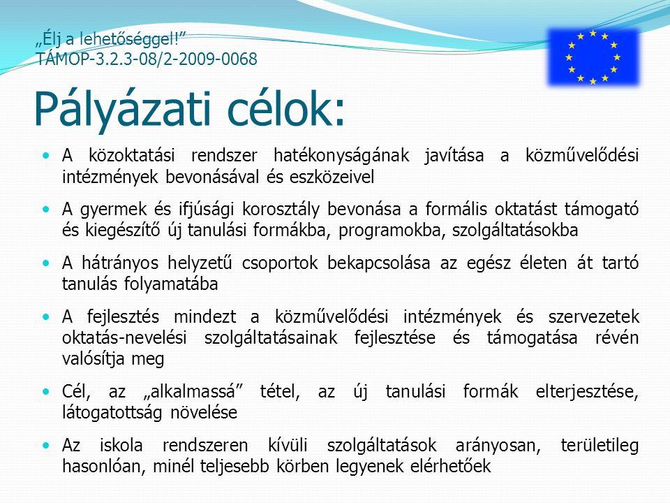 """""""Élj a lehetőséggel! TÁMOP-3.2.3-08/2-2009-0068 Részcélok: Az egész életen át tartó tanulás formáinak, alkalmainak, tartalmainak bővítése, a hátrányos helyzetű csoportok bevonásával a résztvevői kör szélesítése A lakosság digitális és nyelvi kompetenciáinak fejlesztése A társadalmi tanulási folyamat és a demokratikus jogok gyakorlását segítő kompetenciák fejlesztése Megtartó képességet segítő helyi közösségi programok megvalósítása"""