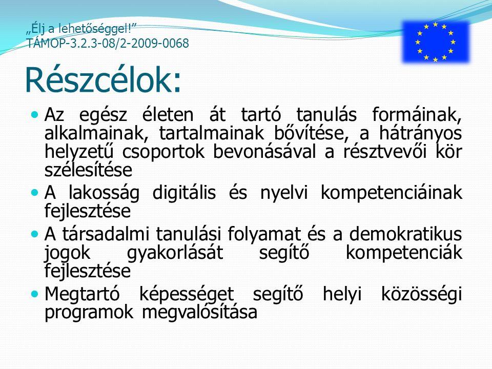 """""""Élj a lehetőséggel! TÁMOP-3.2.3-08/2-2009-0068 Pályázati tevékenységek: Komponensek: B) Oktatást kiegészítő, iskolarendszeren kívüli programok, különösen az ifjúsági korosztálynak szóló képesség és kompetencia fejlesztő, tehetséggondozó és közművelődési programok C) Digitális és nyelvi kompetenciák fejlesztése, a digitális írástudás és alapkompetenciák megszerzése D) Demokratikus jogok gyakorlását segítő kompetenciák fejlesztése"""
