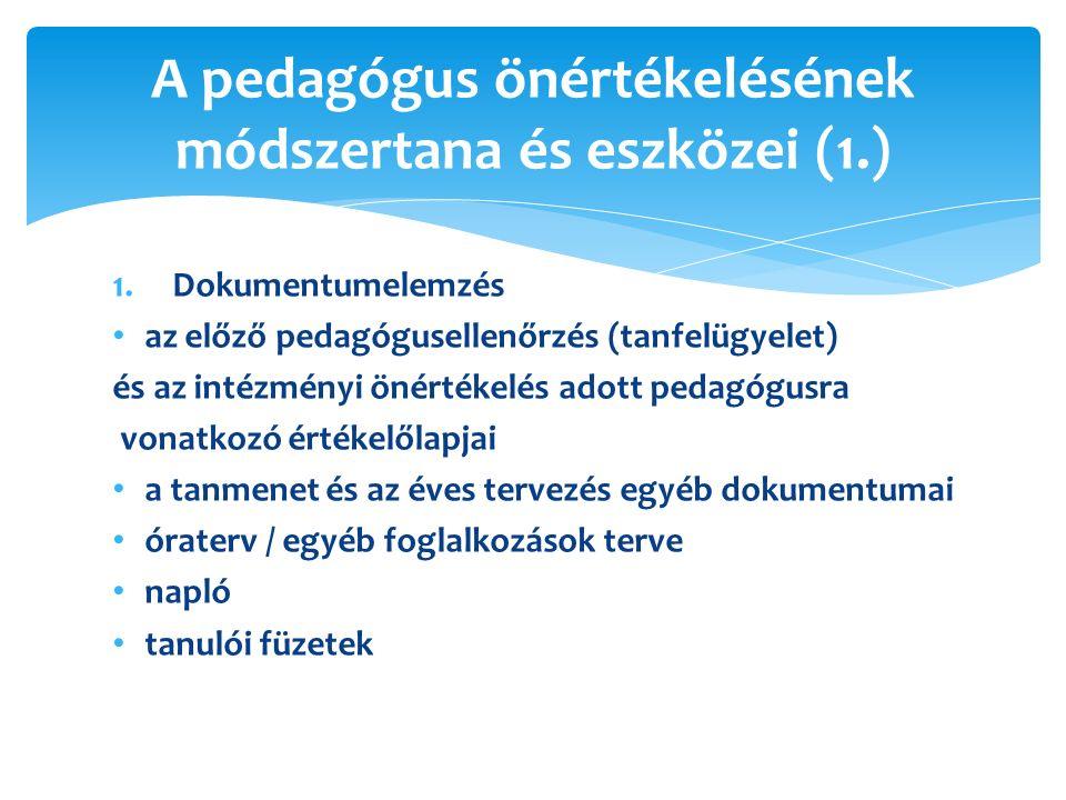 1.Dokumentumelemzés az előző pedagógusellenőrzés (tanfelügyelet) és az intézményi önértékelés adott pedagógusra vonatkozó értékelőlapjai a tanmenet és az éves tervezés egyéb dokumentumai óraterv / egyéb foglalkozások terve napló tanulói füzetek A pedagógus önértékelésének módszertana és eszközei (1.)