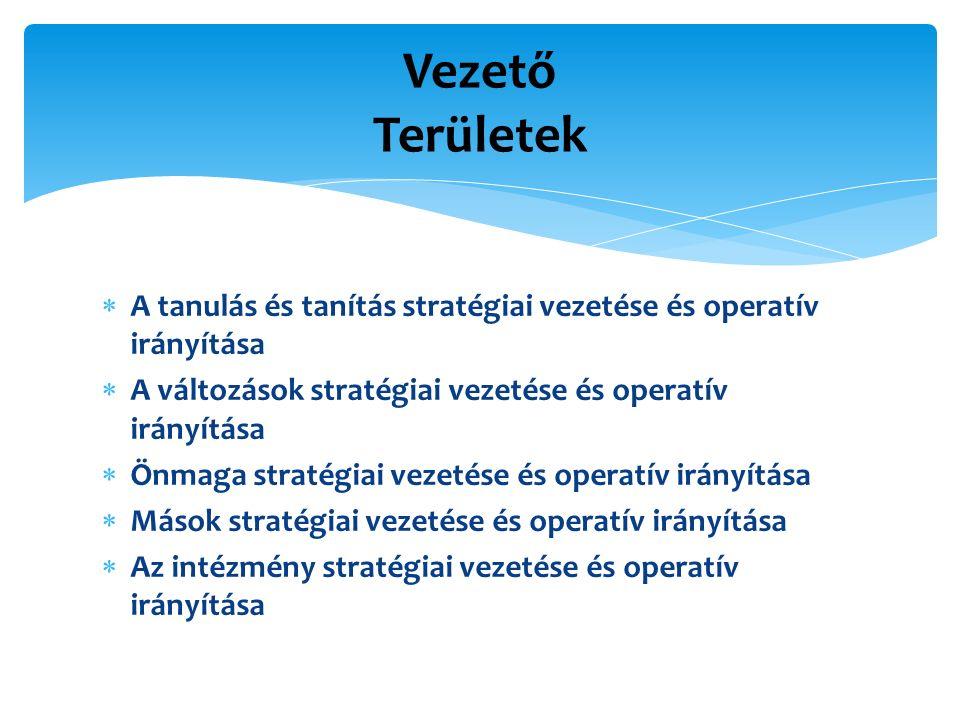  A tanulás és tanítás stratégiai vezetése és operatív irányítása  A változások stratégiai vezetése és operatív irányítása  Önmaga stratégiai vezetése és operatív irányítása  Mások stratégiai vezetése és operatív irányítása  Az intézmény stratégiai vezetése és operatív irányítása Vezető Területek