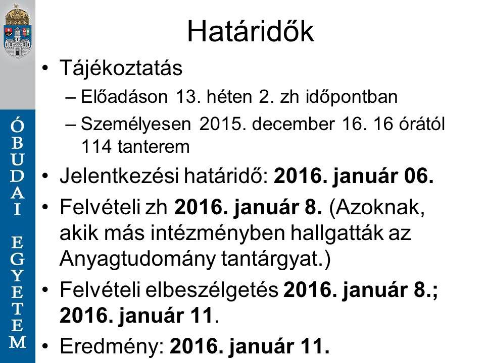 Határidők Tájékoztatás –Előadáson 13. héten 2. zh időpontban –Személyesen 2015.