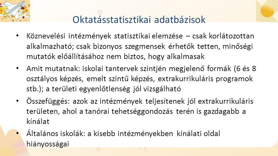 Oktatásstatisztikai adatbázisok Köznevelési intézmények statisztikai elemzése – csak korlátozottan alkalmazható; csak bizonyos szegmensek érhetők tetten, minőségi mutatók előállításához nem biztos, hogy alkalmasak Amit mutatnak: iskolai tantervek szintjén megjelenő formák (6 és 8 osztályos képzés, emelt szintű képzés, extrakurrikuláris programok stb.); a területi egyenlőtlenség jól vizsgálható Összefüggés: azok az intézmények teljesítenek jól extrakurrikuláris területen, ahol a tanórai tehetséggondozás terén is gazdagabb a kínálat Általános iskolák: a kisebb intézményekben kínálati oldal hiányosságai