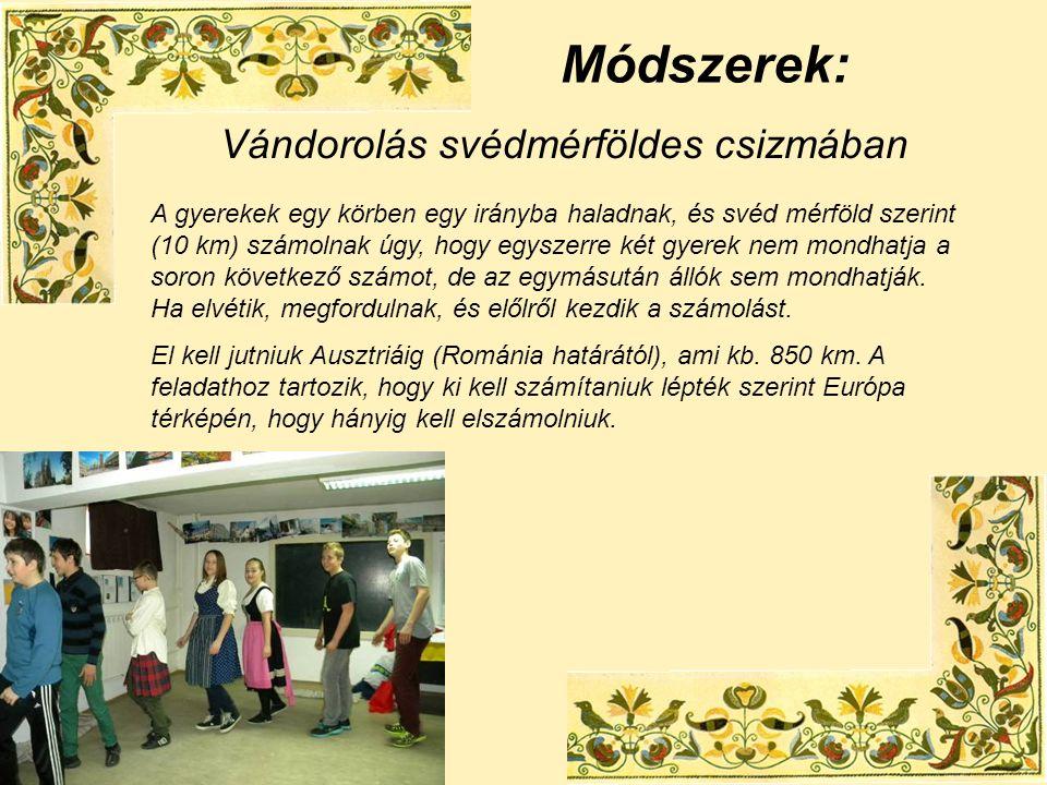 Módszerek: Vándorolás svédmérföldes csizmában A gyerekek egy körben egy irányba haladnak, és svéd mérföld szerint (10 km) számolnak úgy, hogy egyszerre két gyerek nem mondhatja a soron következő számot, de az egymásután állók sem mondhatják.