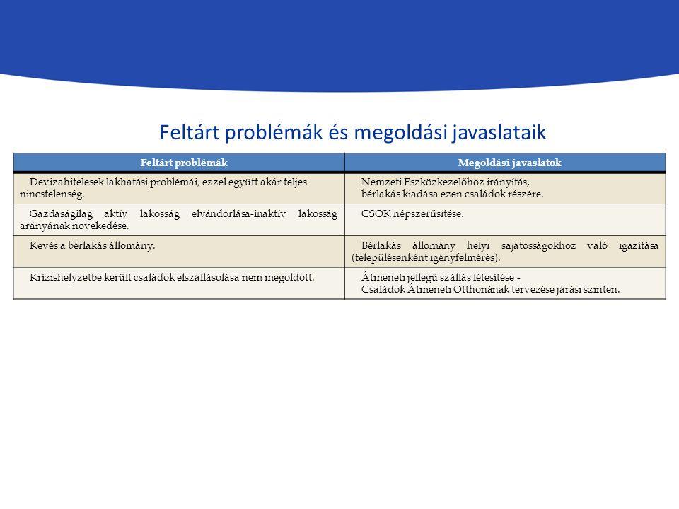 Feltárt problémákMegoldási javaslatok Devizahitelesek lakhatási problémái, ezzel együtt akár teljes nincstelenség.