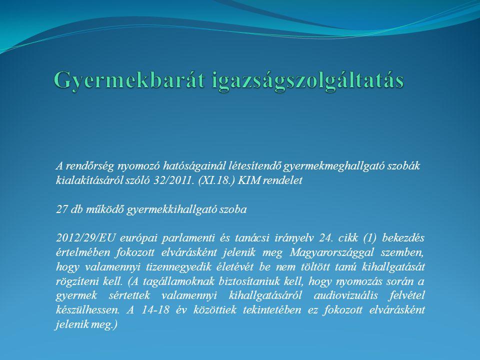 A rendőrség nyomozó hatóságainál létesítendő gyermekmeghallgató szobák kialakításáról szóló 32/2011. (XI.18.) KIM rendelet 27 db működő gyermekkihallg