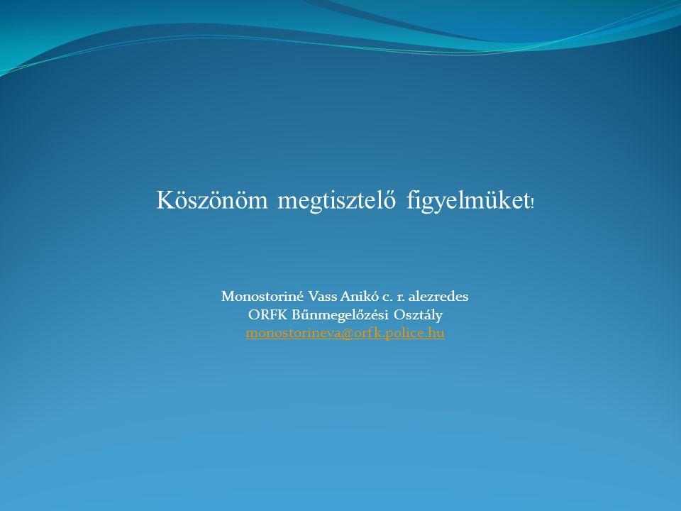 Köszönöm megtisztelő figyelmüket ! Monostoriné Vass Anikó c. r. alezredes ORFK Bűnmegelőzési Osztály monostorineva@orfk.police.hu