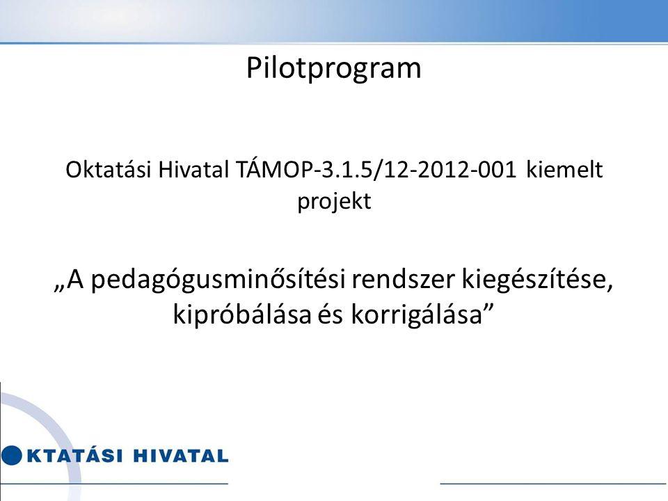 """Pilotprogram Oktatási Hivatal TÁMOP-3.1.5/12-2012-001 kiemelt projekt """"A pedagógusminősítési rendszer kiegészítése, kipróbálása és korrigálása"""
