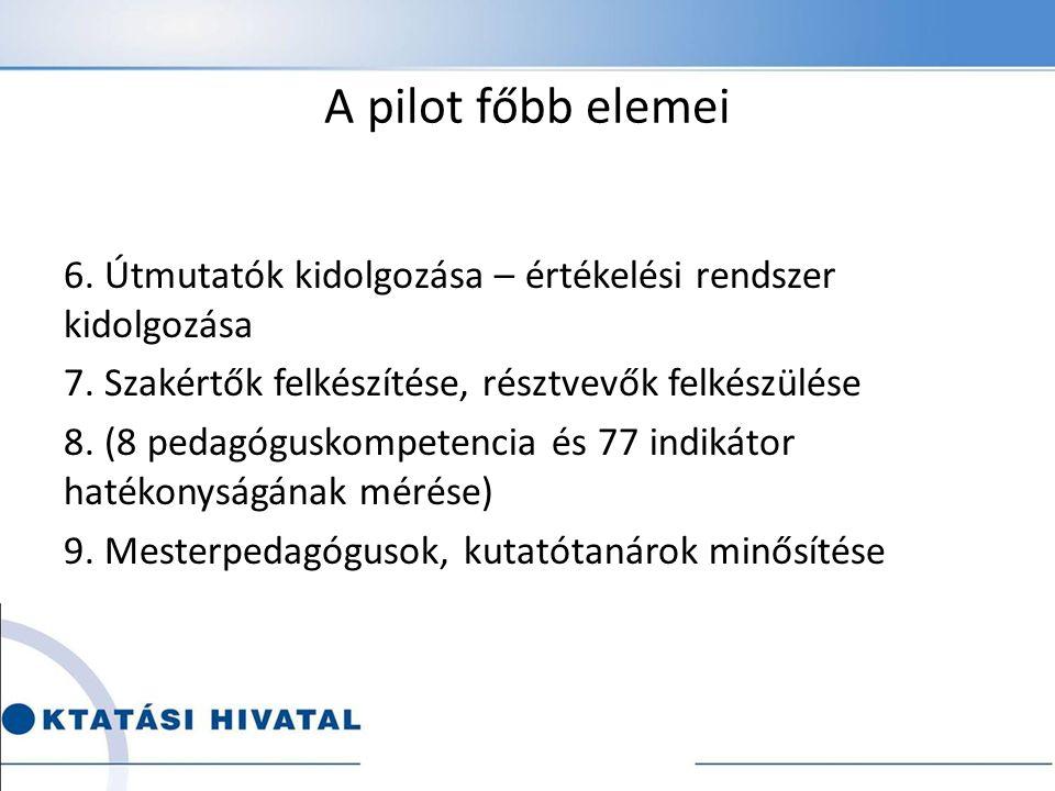 A pilot főbb elemei 6. Útmutatók kidolgozása – értékelési rendszer kidolgozása 7.
