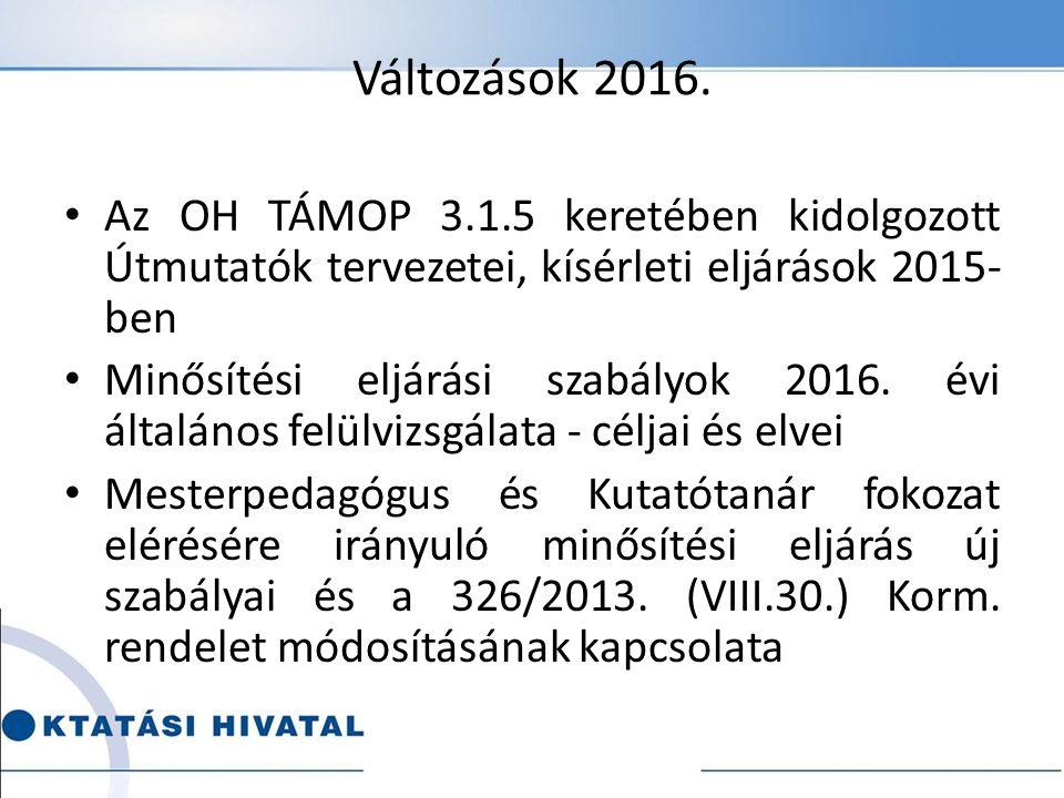 Változások 2016.