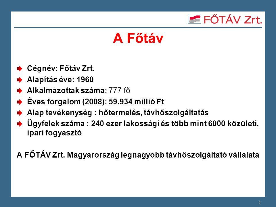 A Főtáv Cégnév: Főtáv Zrt. Alapítás éve: 1960 Alkalmazottak száma: 777 fő Éves forgalom (2008): 59.934 millió Ft Alap tevékenység : hőtermelés, távhős