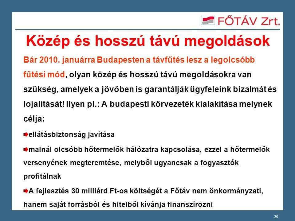 Közép és hosszú távú megoldások Bár 2010. januárra Budapesten a távfűtés lesz a legolcsóbb fűtési mód, olyan közép és hosszú távú megoldásokra van szü