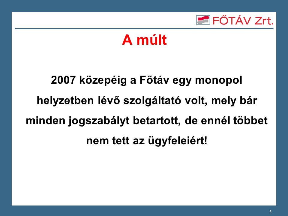 A múlt 2007 közepéig a Főtáv egy monopol helyzetben lévő szolgáltató volt, mely bár minden jogszabályt betartott, de ennél többet nem tett az ügyfelei