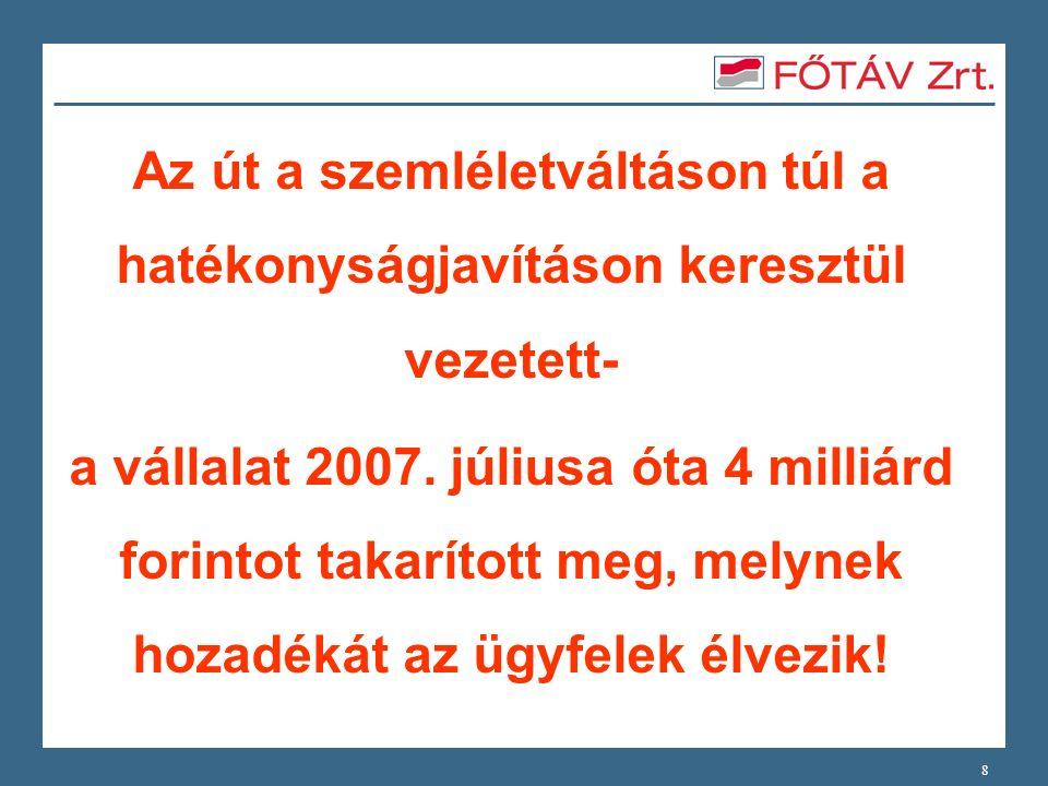 8 Az út a szemléletváltáson túl a hatékonyságjavításon keresztül vezetett- a vállalat 2007. júliusa óta 4 milliárd forintot takarított meg, melynek ho